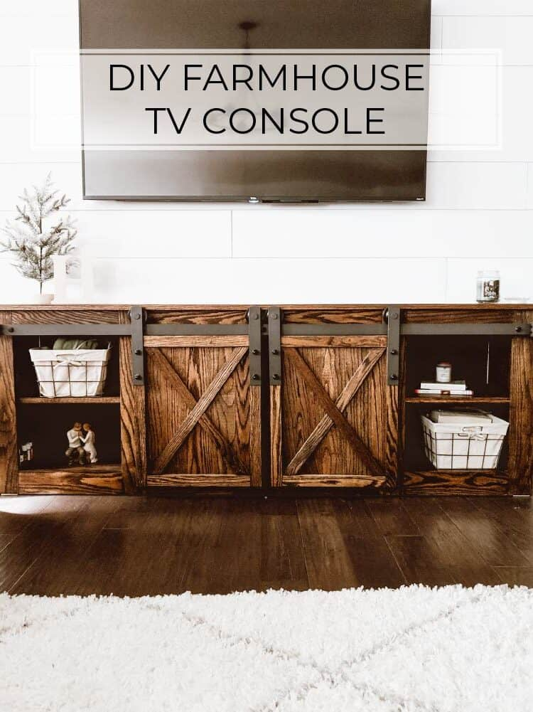 DIY Farmhouse TV Console with Sliding Barn Doors