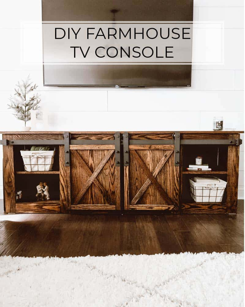 Diy Farmhouse Tv Console With Sliding Barn Doors Crafted By The Hunts
