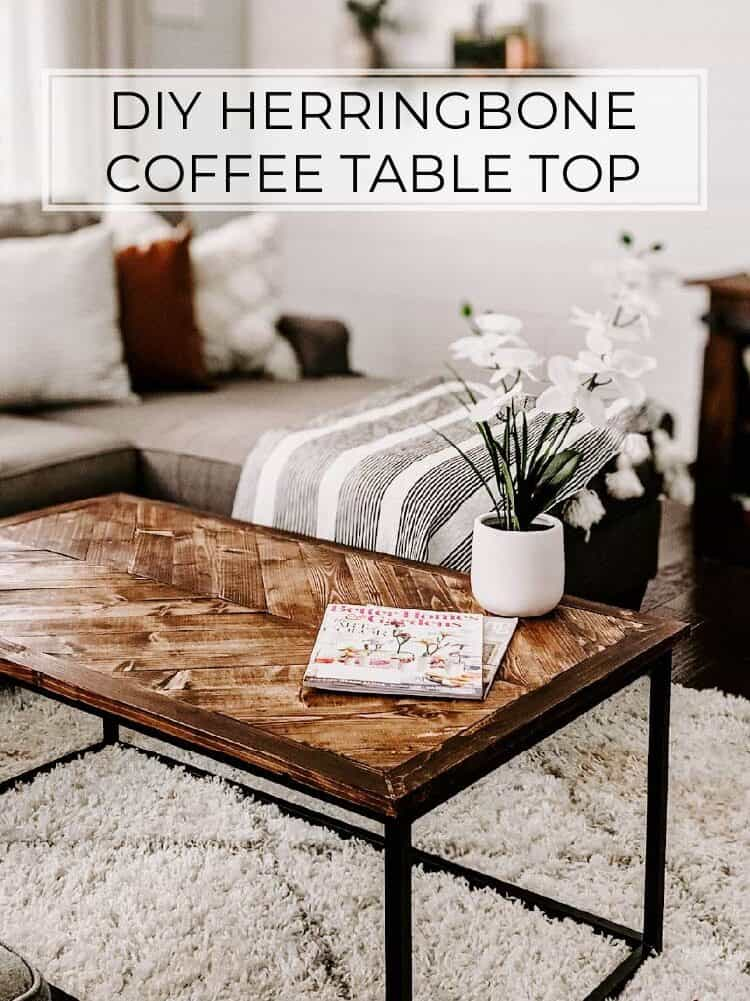 $30 DIY Herringbone Coffee Tabletop