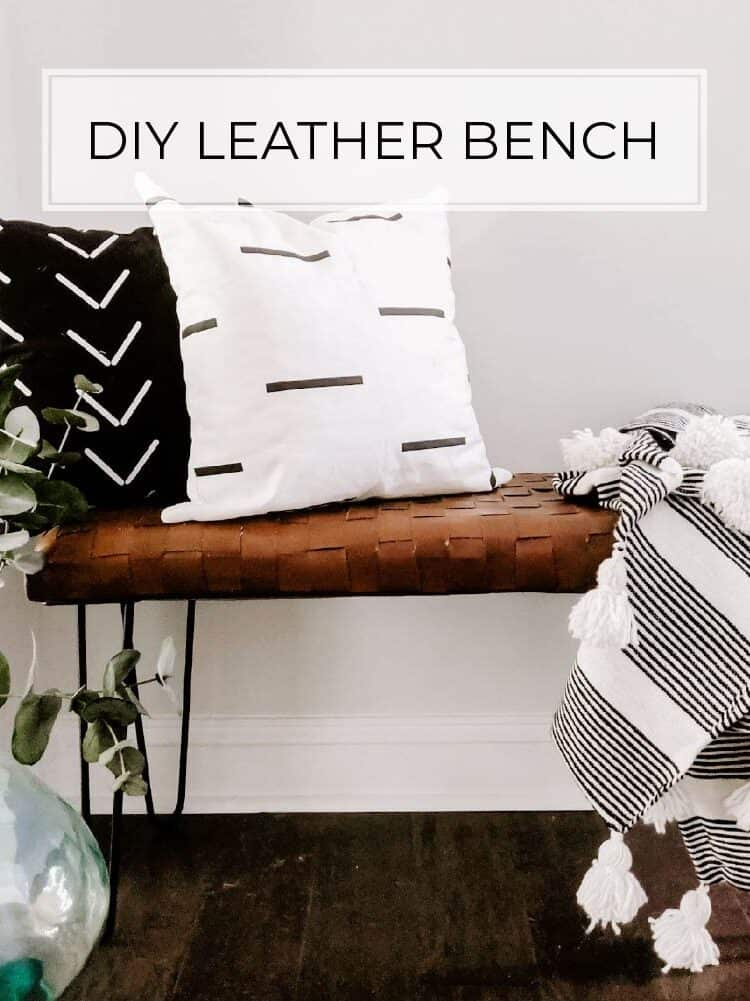 DIY Woven Leather Bench Tutorial