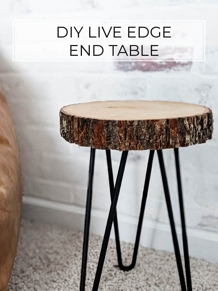 Easy DIY Live Edge End Table with Hairpin Legs