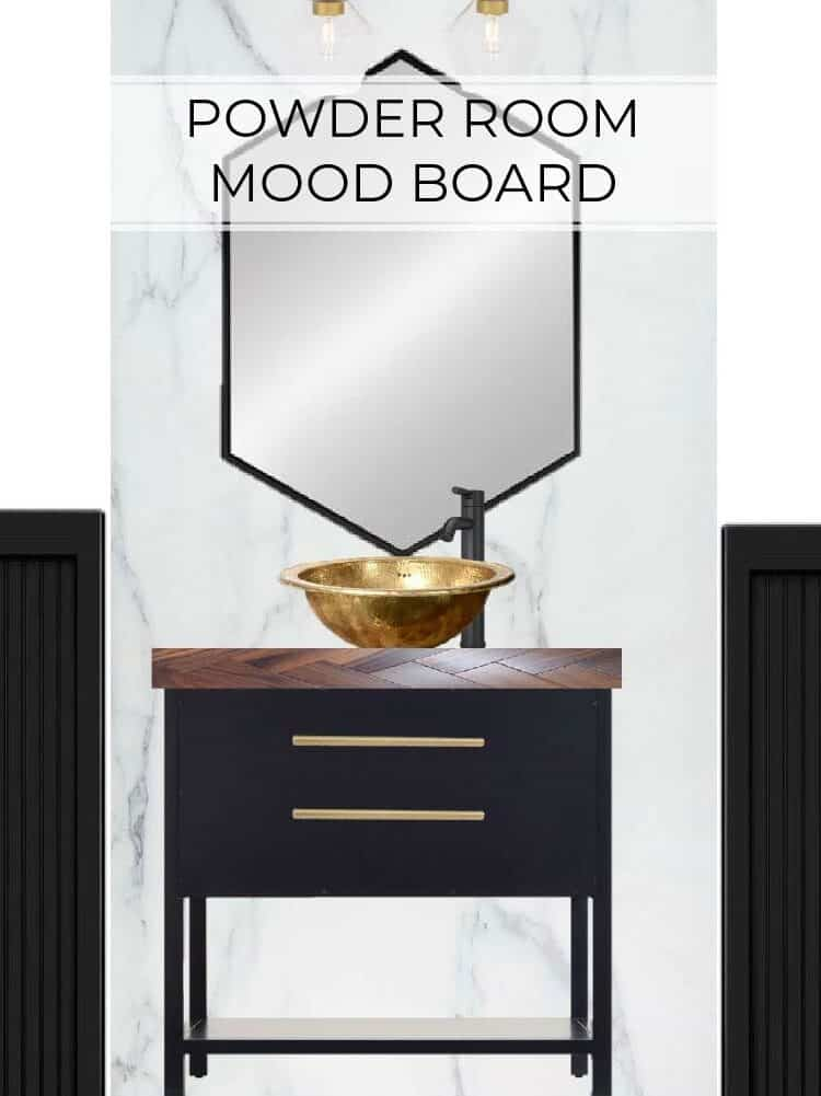 Powder Room Mood Board + Plan