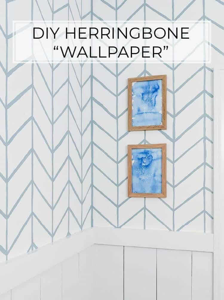 DIY Herringbone Wallpaper | Easy Hand Painted Wallpaper