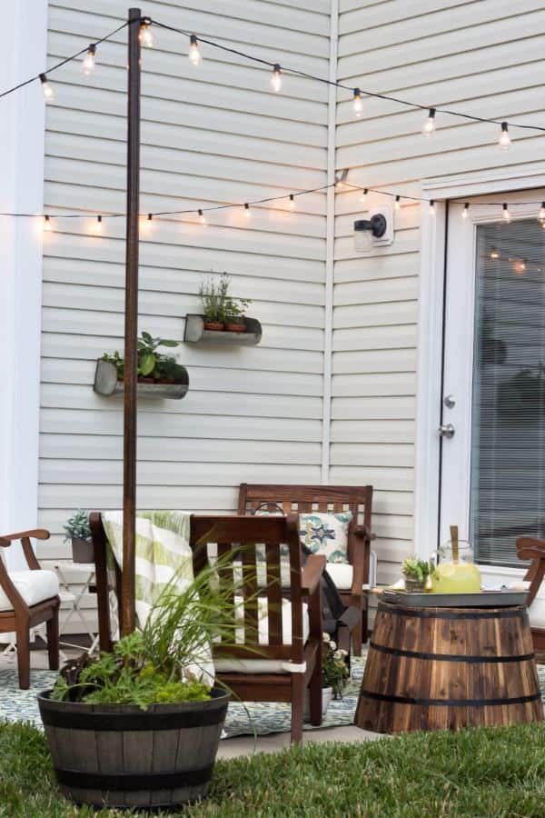 string lights over patio