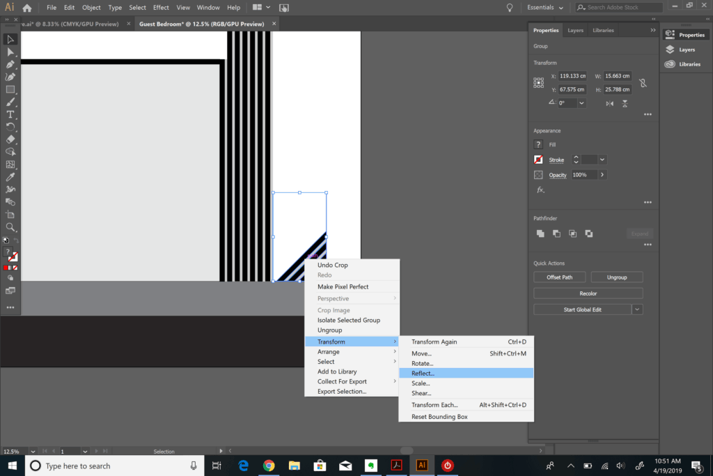 reflecting objects in Adobe Illustrator