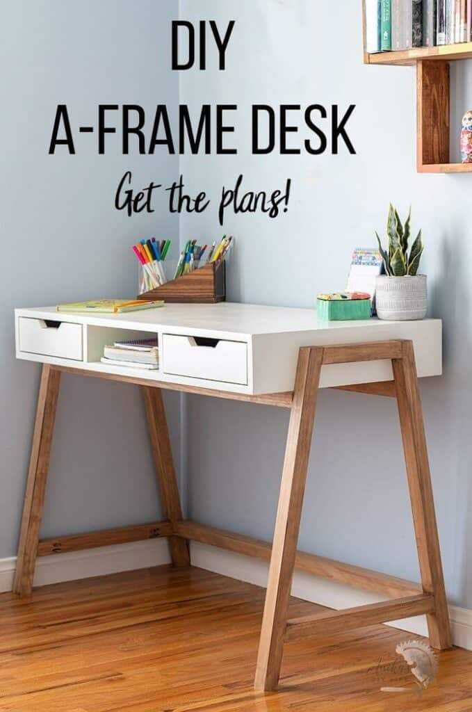 DIY a-frame desk