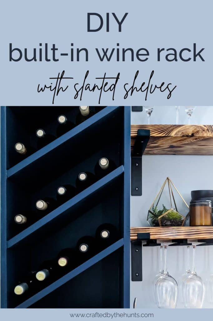 DIY on the wall wine rack with slanted shelves