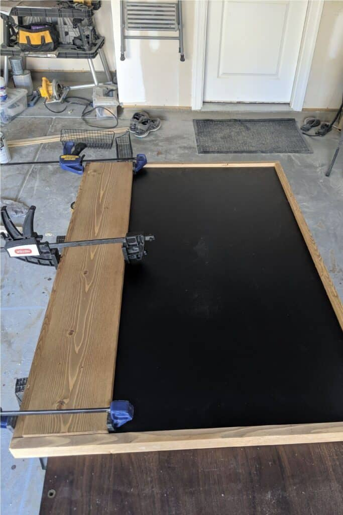 attaching front to diy chalkboard using clamps