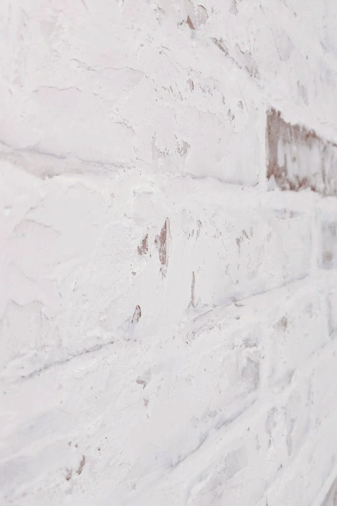 close-up of German Schmear finish on faux brick wall