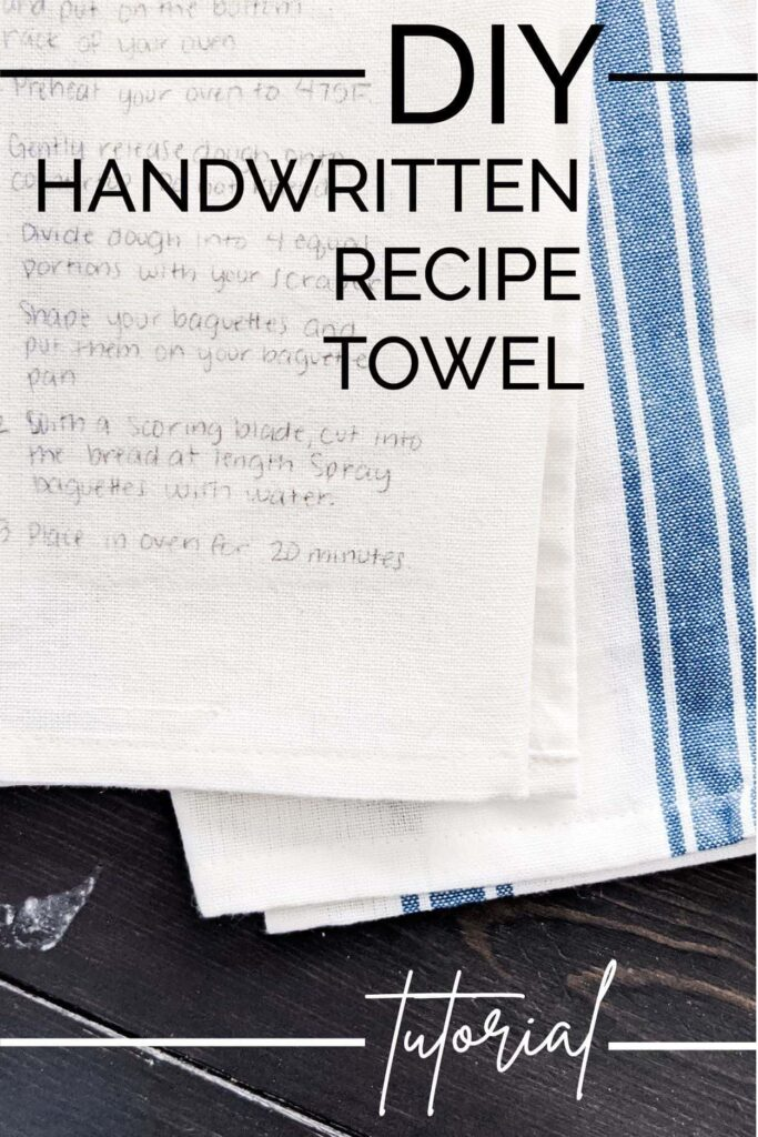DIY handwritten recipe towel tutorial
