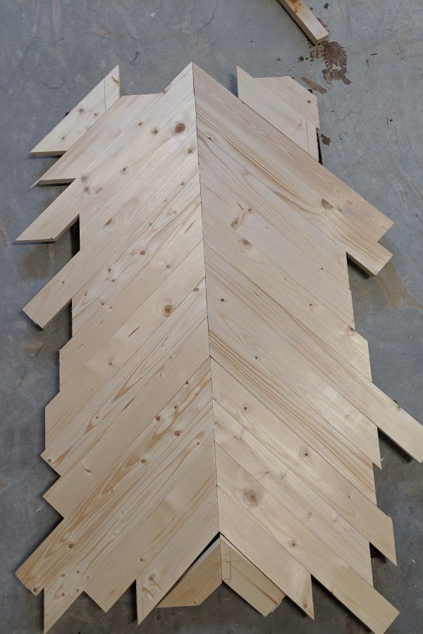 arrange wood in chevron pattern