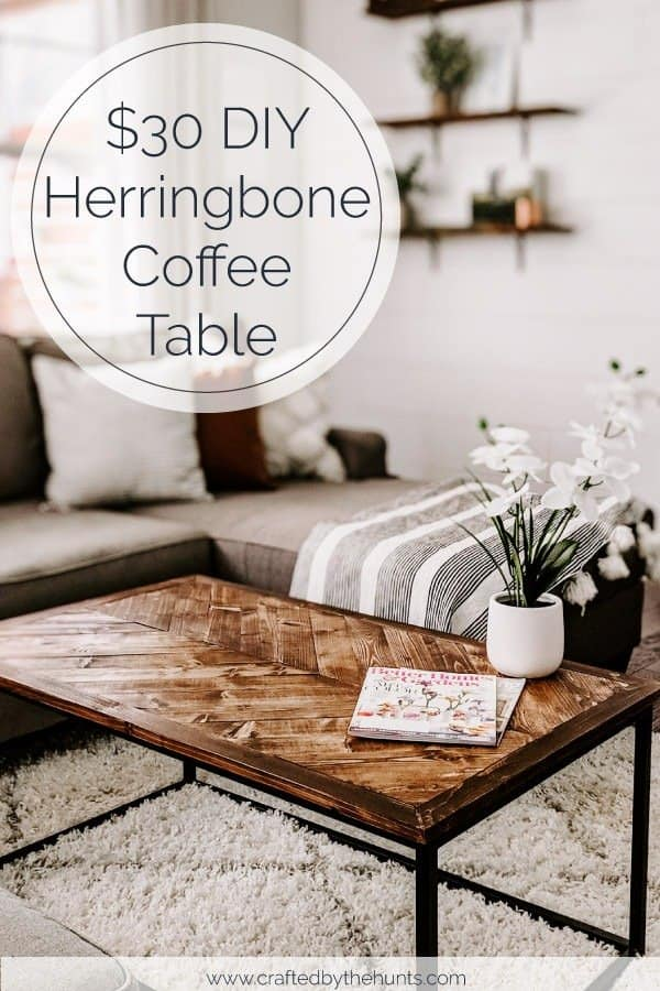 $30 DIY Herringbone Coffee Table in modern farmhouse living room