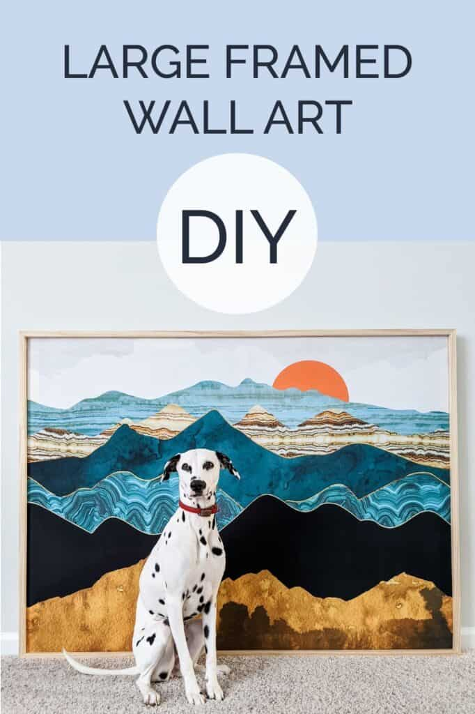 Large framed wall art DIY with dalmatian sitting in front of tapestry