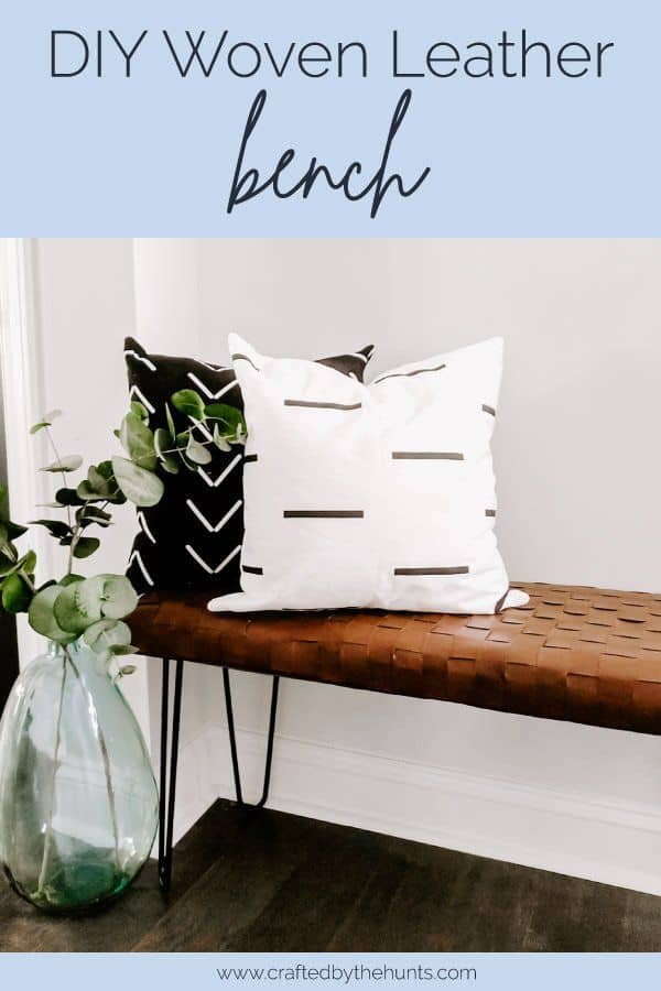 DIY woven leather bench wiith black and white pillows