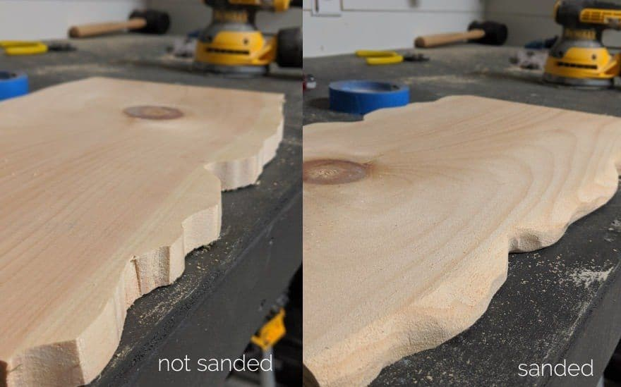 side-by-side comparison of board before sanding and after
