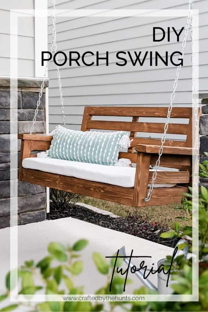 DIY porch swing hanging from ceiling