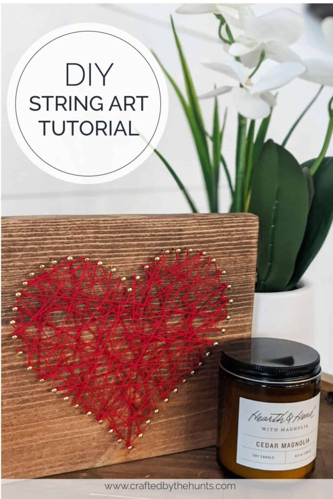 DIY string art tutorial with simple string art heart