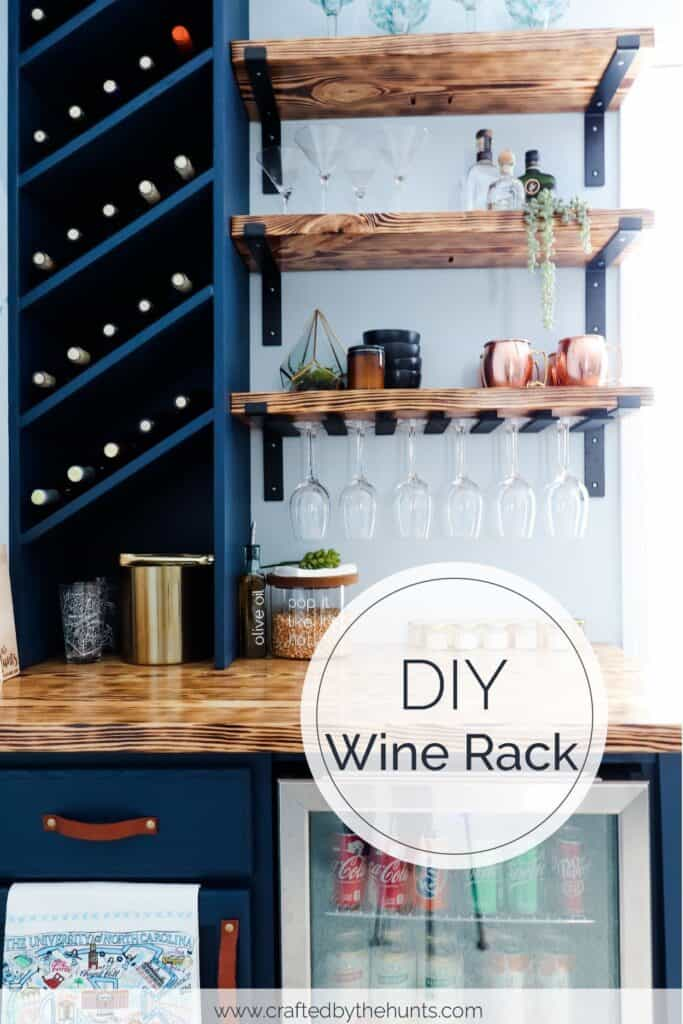 Navy blue DIY wine rack for dry bar with wood shelves and countertop