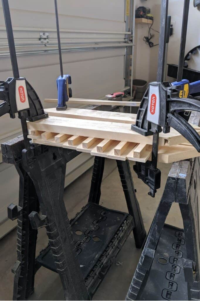 clamping wood for DIY wine glass rack