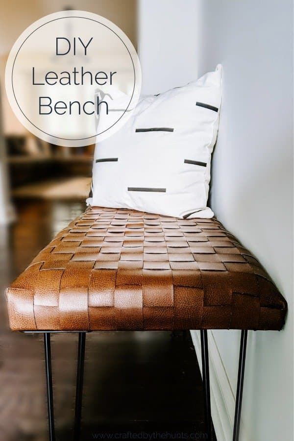 DIY leather bench for entryway