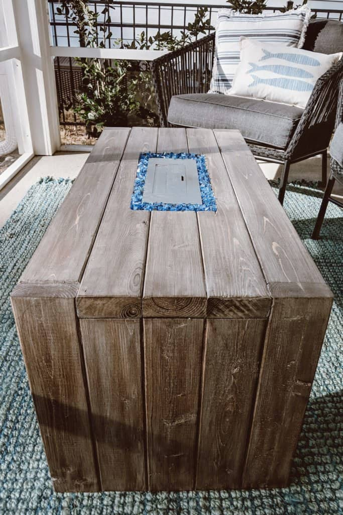 DIY waterfall table with fire pit in center