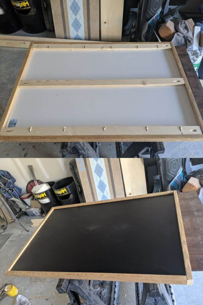 front and back of DIY chalkboard