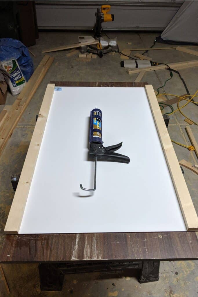 gluing wood to whiteboard