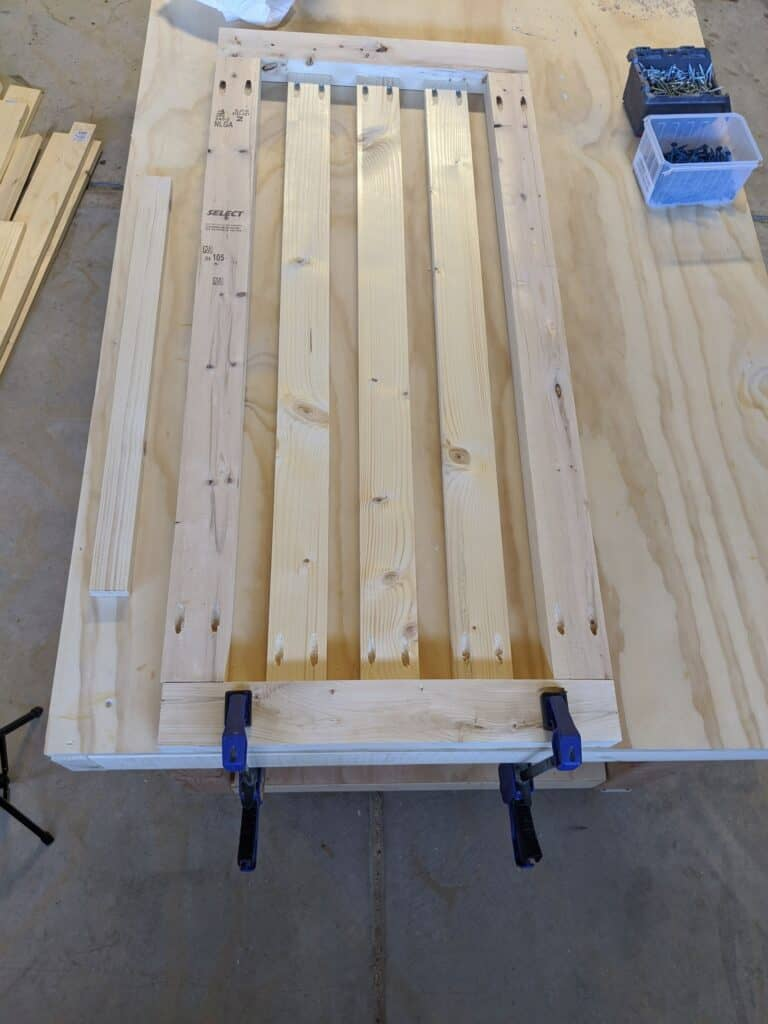 Assembling back of porch swing using pocket holes