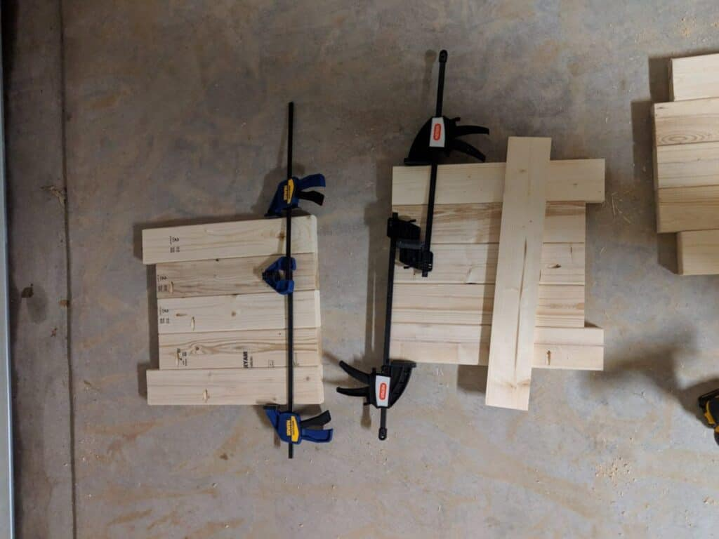 assembling and clamping legs for the waterfall table