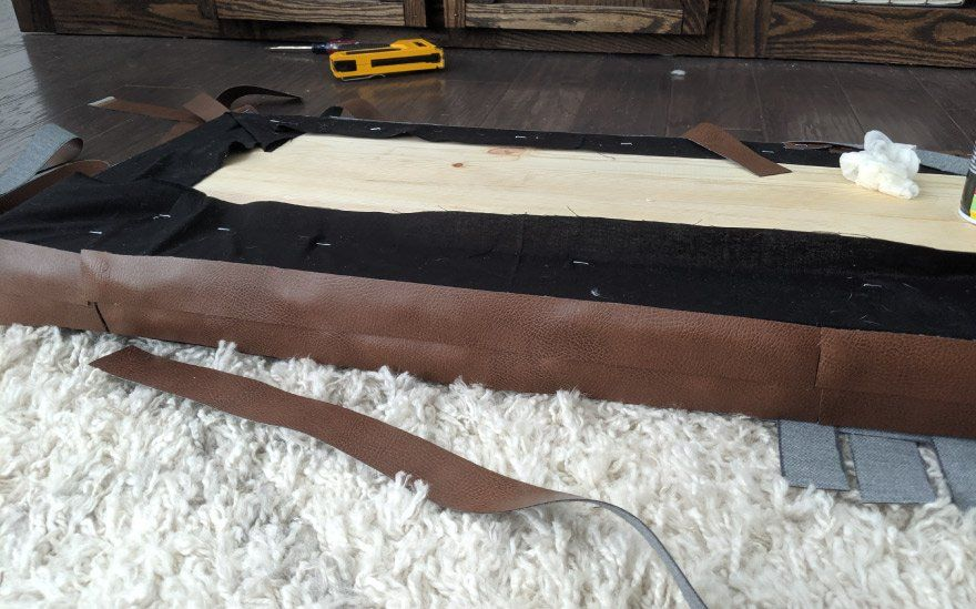 attaching leather to bench