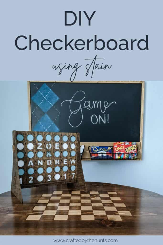 DIY checkerboard table using stain