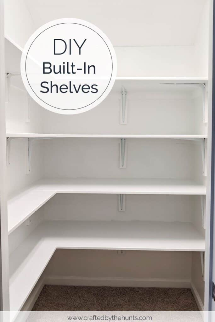DIY built-in shelves in storage closet or pantry