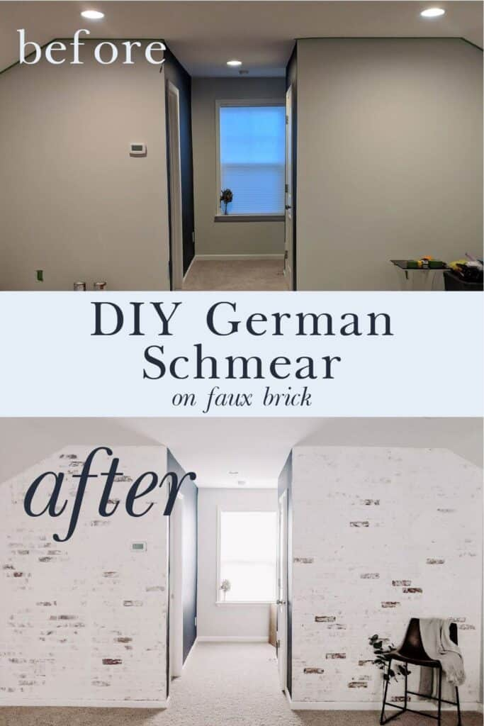 Before and after: DIY German schmear on faux brick