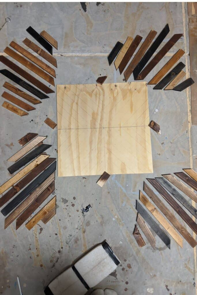 staining boards for geometric wood art