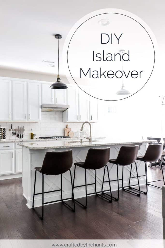 DIY island makeover | white kitchen with leather barstools