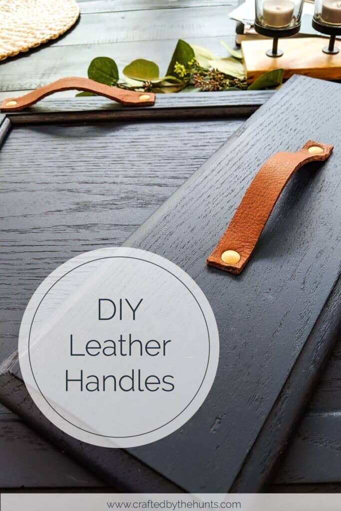 DIY leather handles on navy blue drawer front