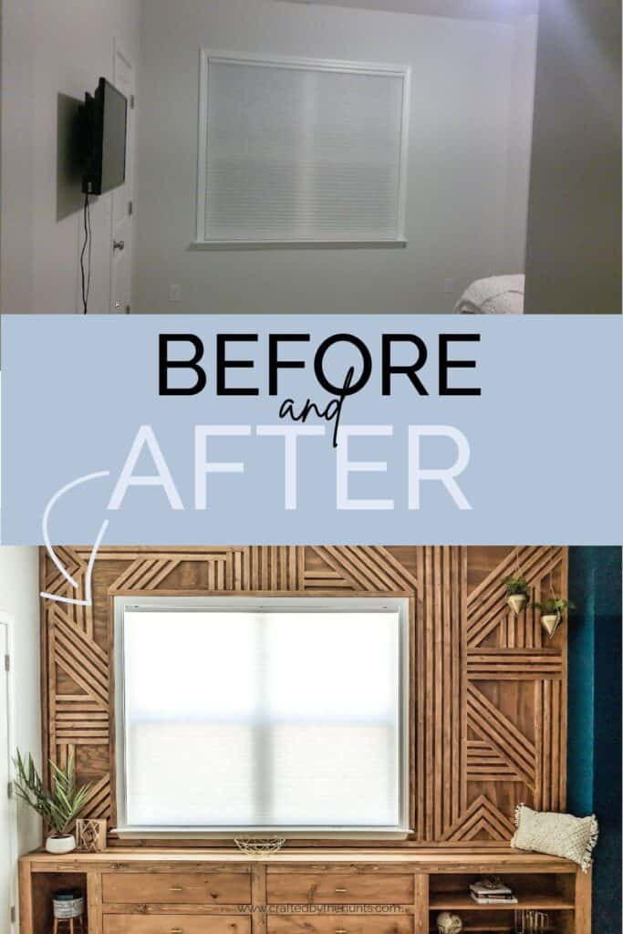 before and after: blank room to wood feature wall and bench seat
