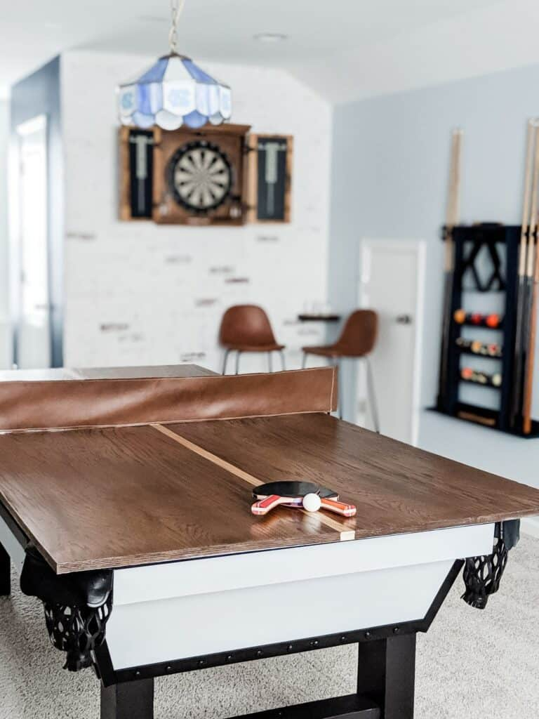 wood ping pong table topper on pool table