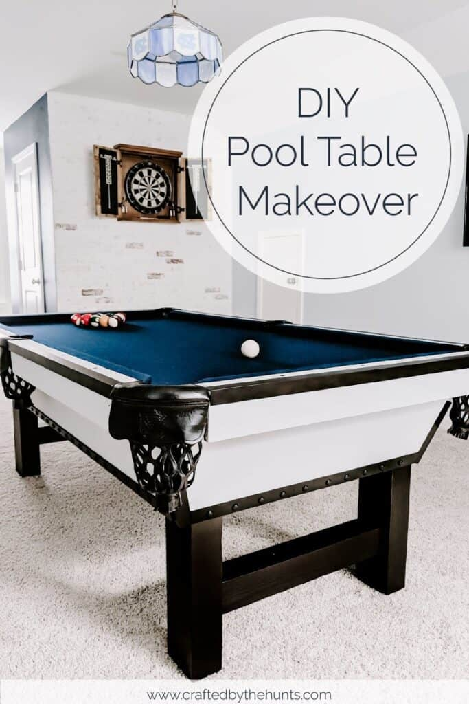DIY Pool Table Makeover After: modern pool table with black legs and navy felt