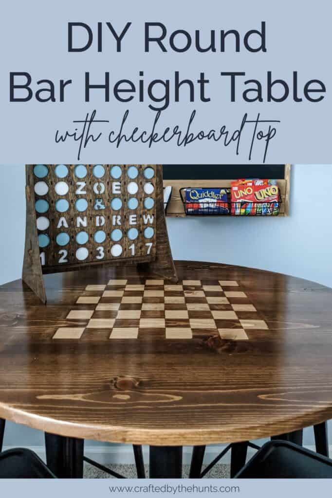 DIY round bar height table with checkerboard top