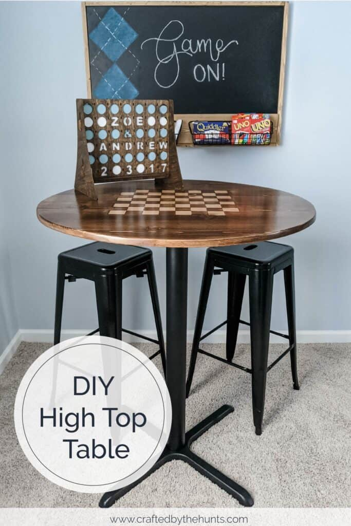 DIY high top table with checkerboard pattern stain