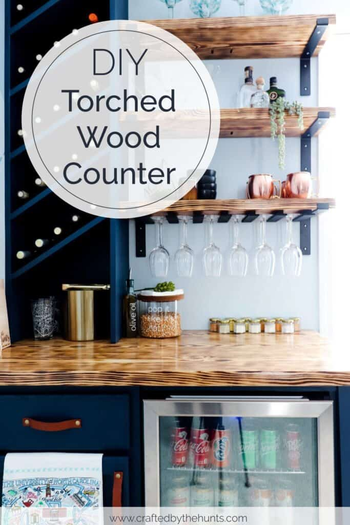 DIY torched wood counter