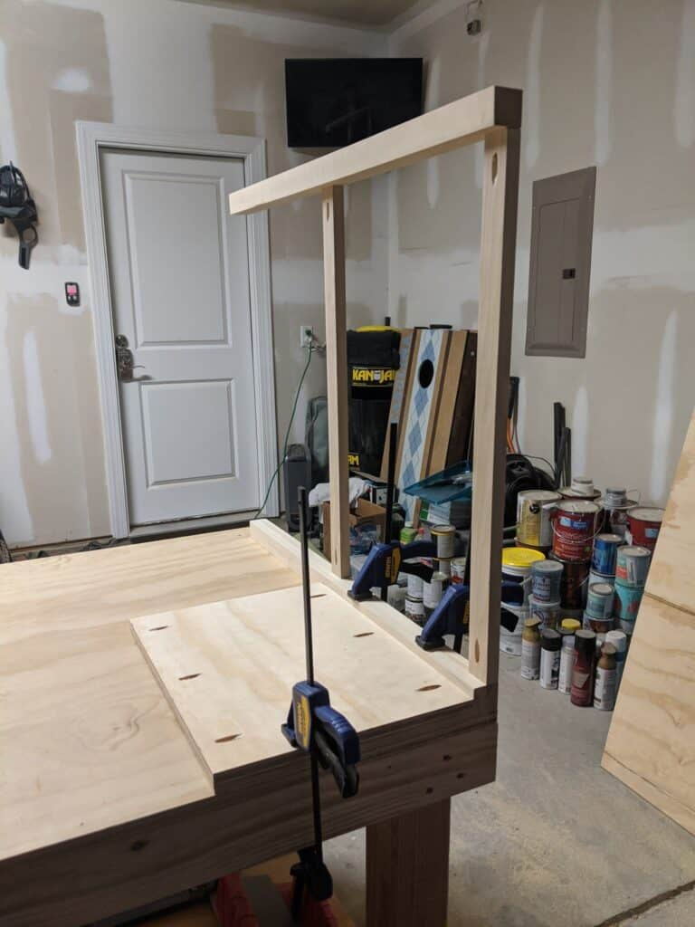 Attaching side of vanity to front using pocket holes