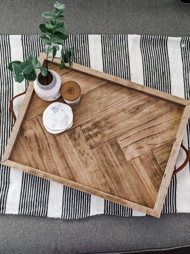 wood herringbone serving tray from birds eye view