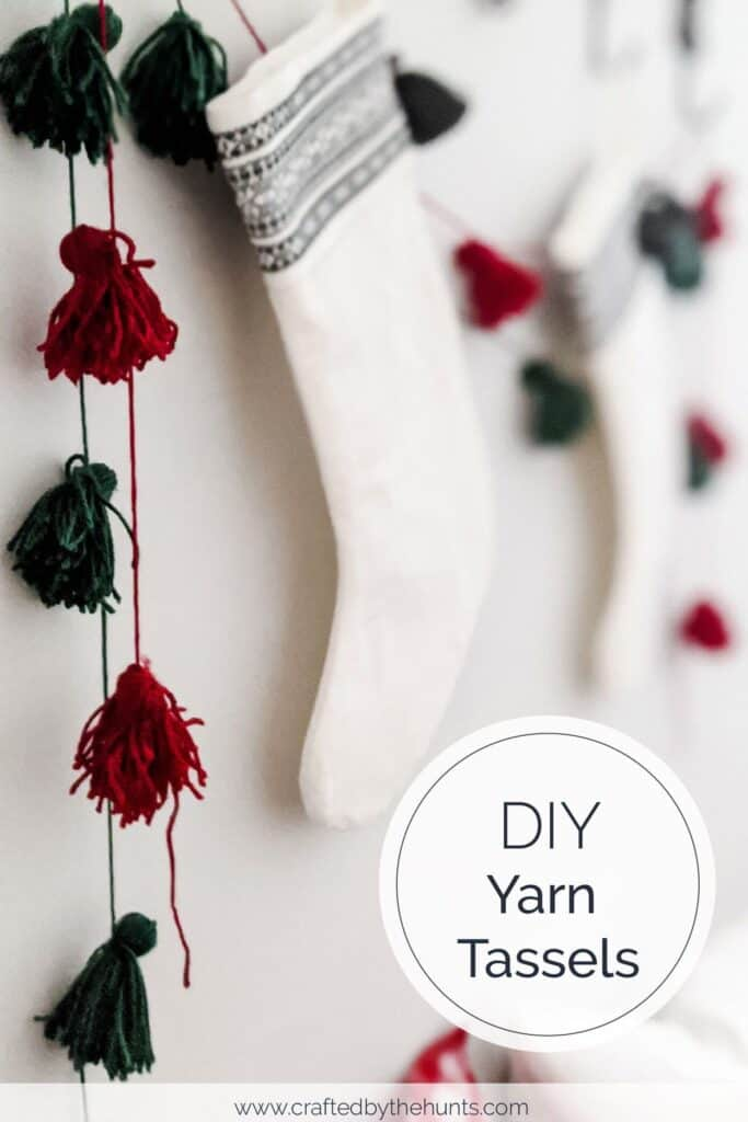 DIY yarn tassels hanging around stockings