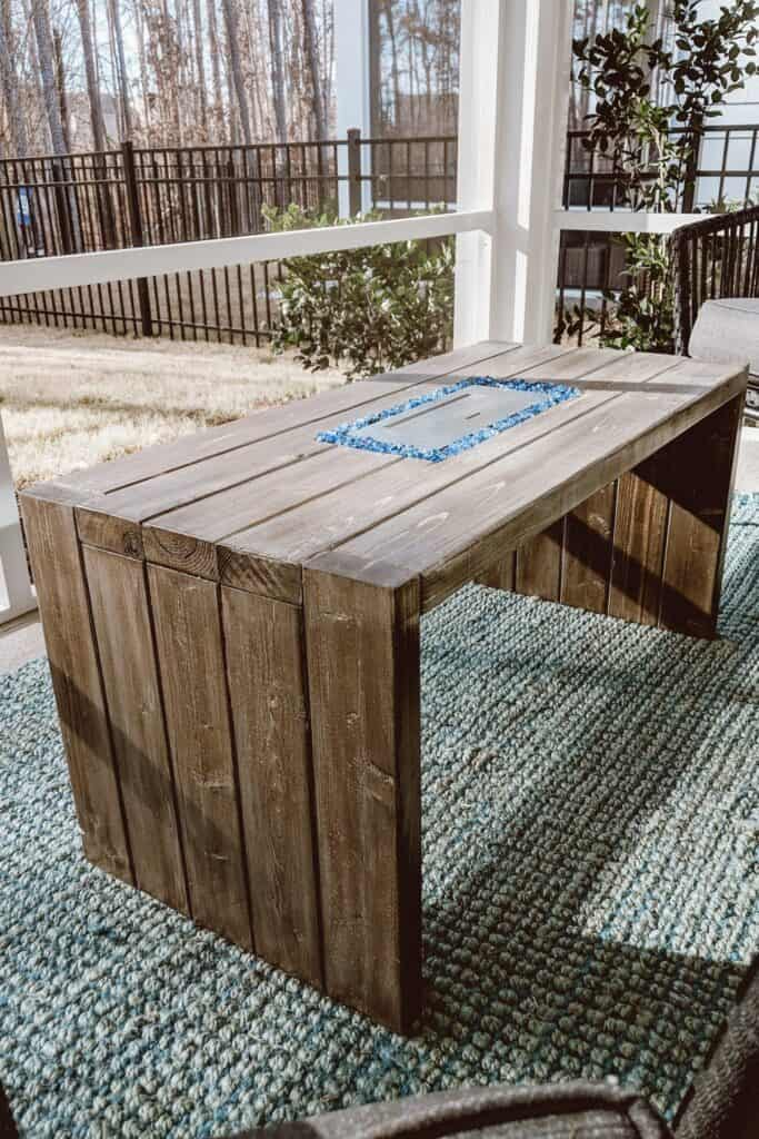 DIY fire pit table with waterfall legs