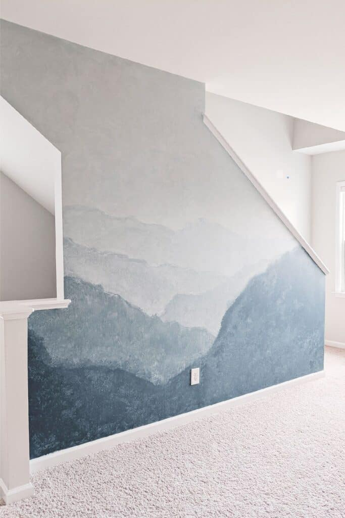 DIY watercolor mural wall painting idea