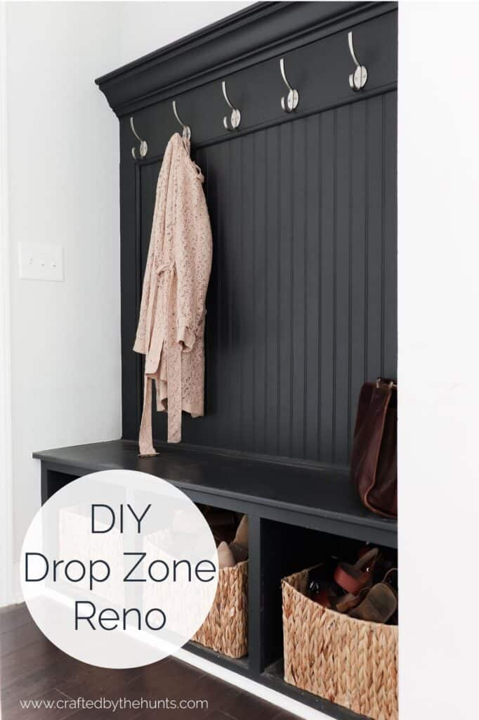 DIY drop zone reno | dark gray drop zone with wicker baskets
