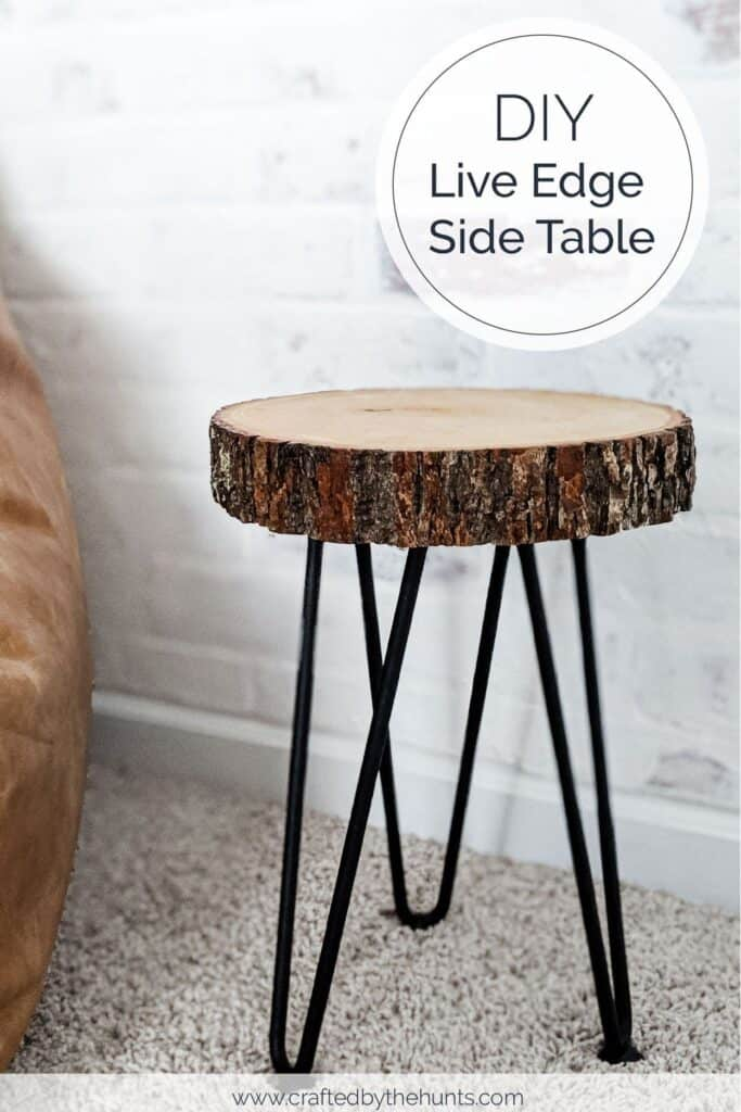 DIY live edge side table with hairpin legs