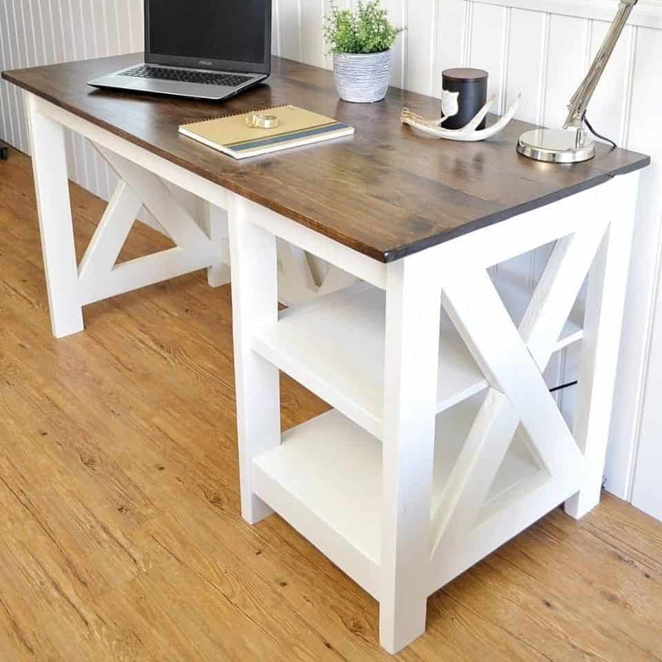 DIY farmhouse desk with white legs and wood top